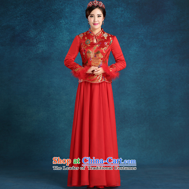 Tim hates makeup and the new bride qipao plus cotton qipao marriages bows services wedding dresses bridal dresses evening dresses winter long-sleeved qipao winter clothing QP001 red tailored does not allow