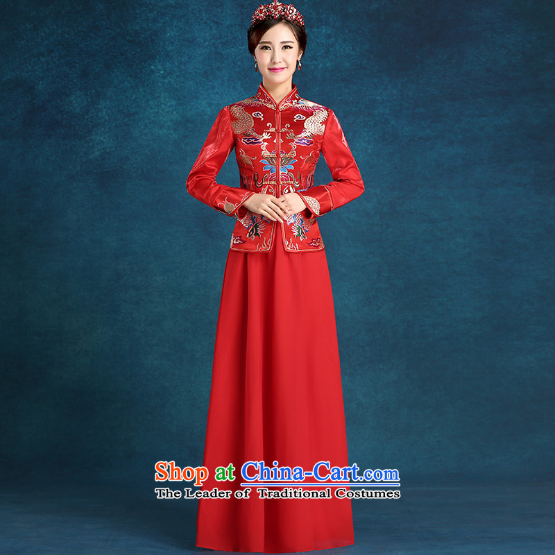 Tim hates makeup and 2015 New cheongsam thick marriages bows services wedding dresses cheongsam dress bride winter qipao winter clothing QP004 long-sleeved red?M