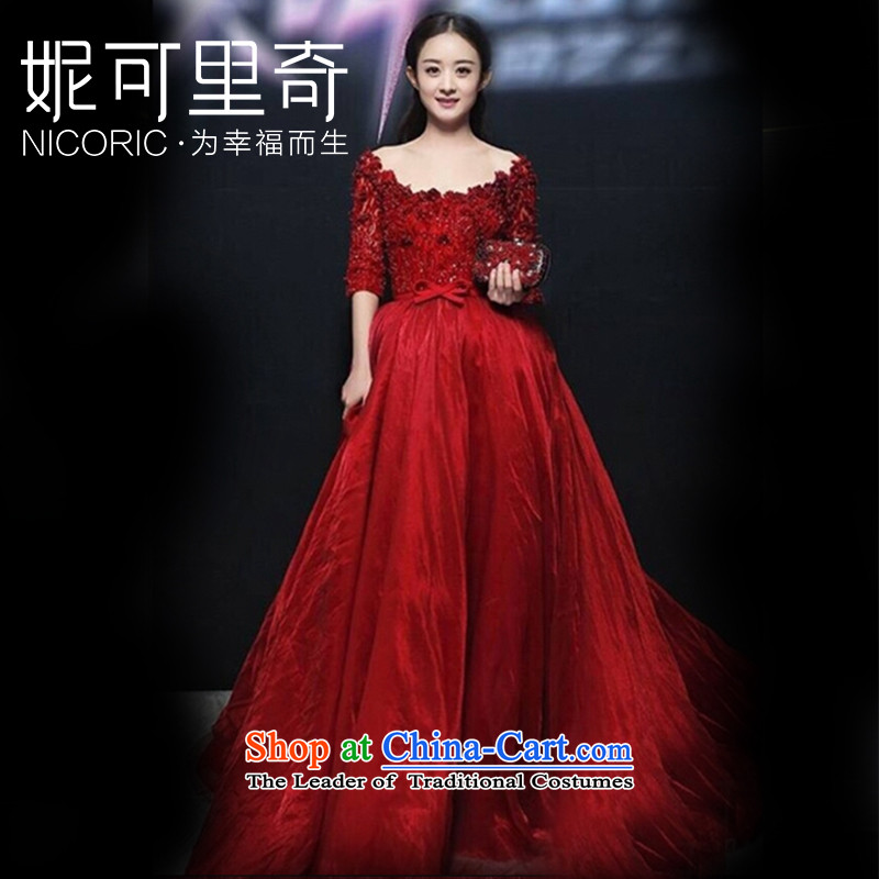 2015 new bride bows of autumn and winter clothing Chiu Lai Ying stars of the same wedding dresses red dress long red?XXL