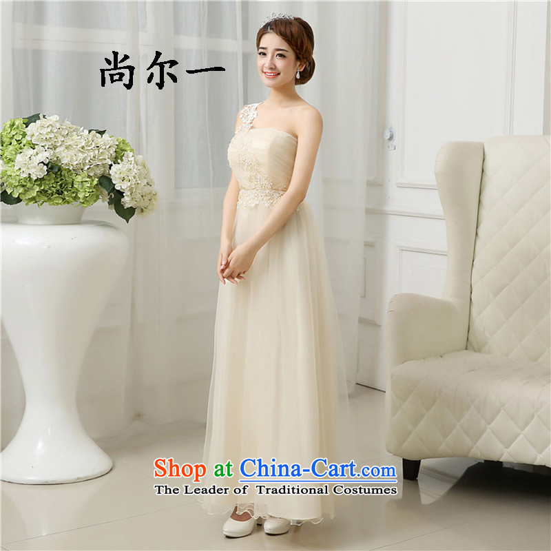 Yet, a new 2015 Spring/Summer bridesmaid dress code with large chest bridesmaid service long skirt sister bridesmaid mission?award65416?champagne color?L