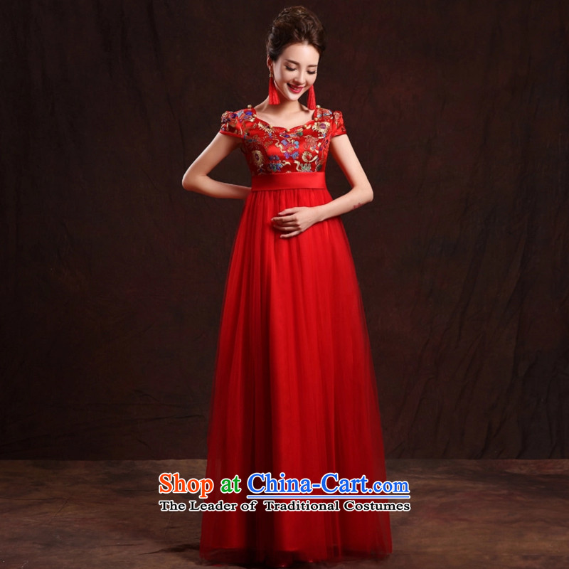 Jiang pregnant women serving drink seal bride Summer 2015 New Evening Dress Short of qipao gown red married Top Loin of large long high waist autumn?XXL