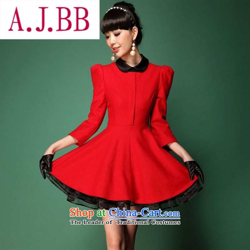 Only the western dress vpro 2015 autumn and winter new gross? dresses red marriage bows lapel dress woolen skirt 1020 Red?XS