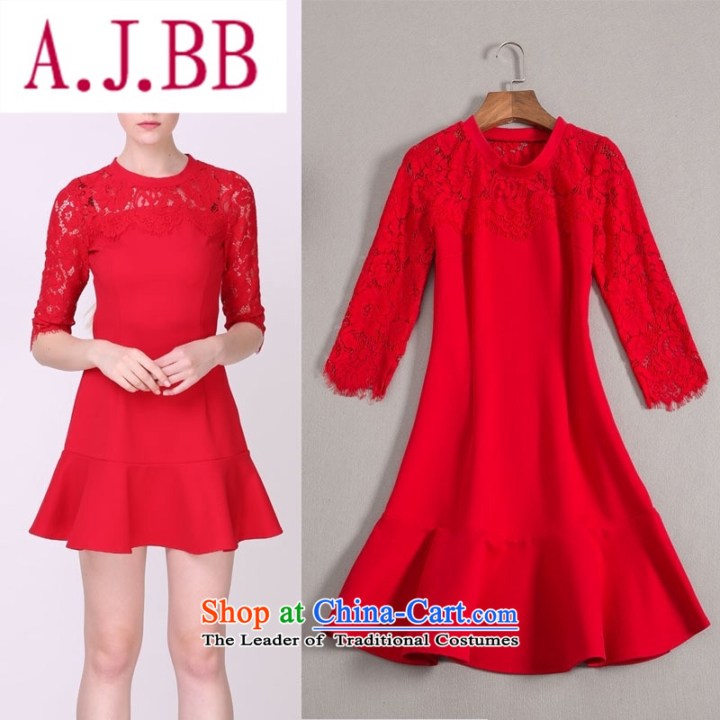 Vpro only 2015 autumn and winter clothing new lace stitched cotton red bride toasting champagne Rome services billowy flounces wedding dress 1525 Red�L