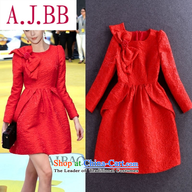 Vpro only 2015 autumn and winter clothing new twine bow knot nail pearl dresses long-sleeved round-neck collar red bows dress skirts marriage 1542 Red聽XL