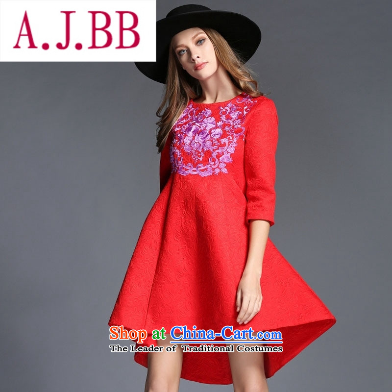 Vpro only 2015 autumn and winter clothing new western dress cotton jacquard heavy industry embroidery round-neck collar dovetail large bows services 1543 Sau San RED�M