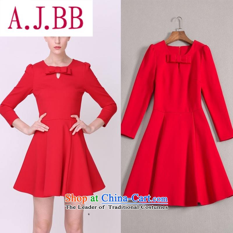 Vpro only 2015 autumn and winter clothing new red short of marriage bows dress long-sleeved Bow Tie Sau San evening dresses 1526 Red?XL