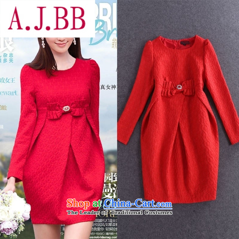 Only Red Dress dresses vpro autumn and winter long-sleeved lanterns skirt bows Service Bridal back to the door to 15.51 red�XL