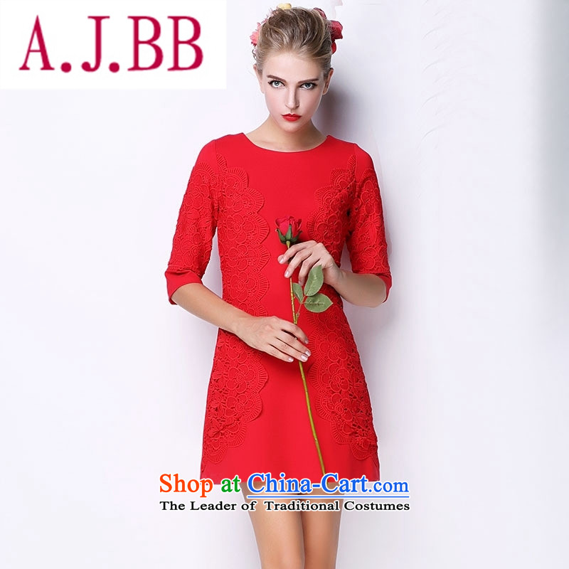Vpro only 2015 autumn and winter clothing new Western Red marriage bows dress thick MM XL female red�XXXL 044