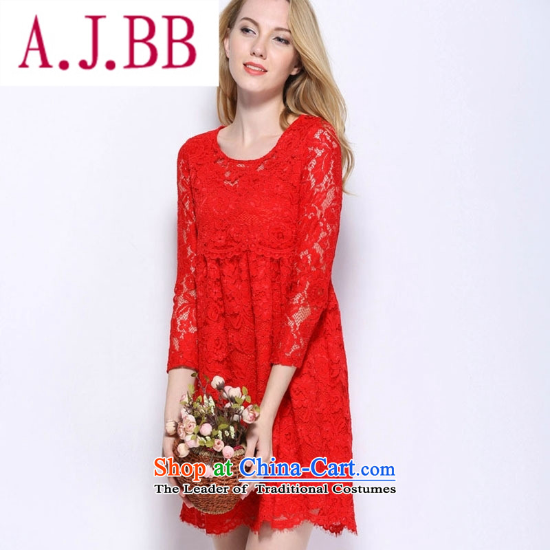 Vpro only new autumn and winter clothing thick mm high waist lace red bows dress relaxd dress pregnant women to marry a small door onto 1,538 short-sleeved red�S