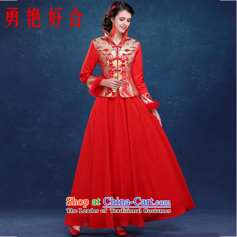 Yong-yeon and bows qipao 2015 new services for autumn and winter by the cotton long-sleeved bride wedding dress for winter RED?M