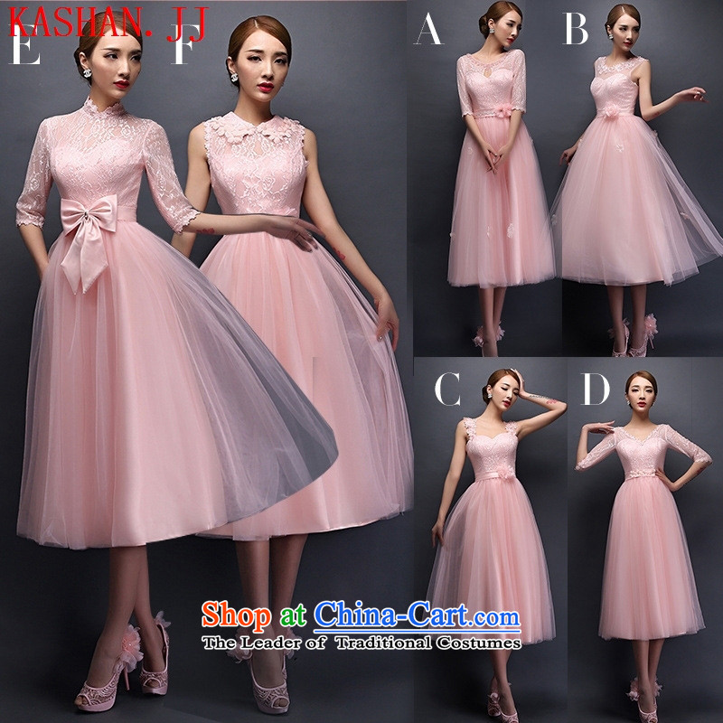 Mano-hwan's new dresses bridesmaid bows services in 2015 bride long spring and summer pink sister bridesmaid skirt banquet dinner dress?code F are S-L
