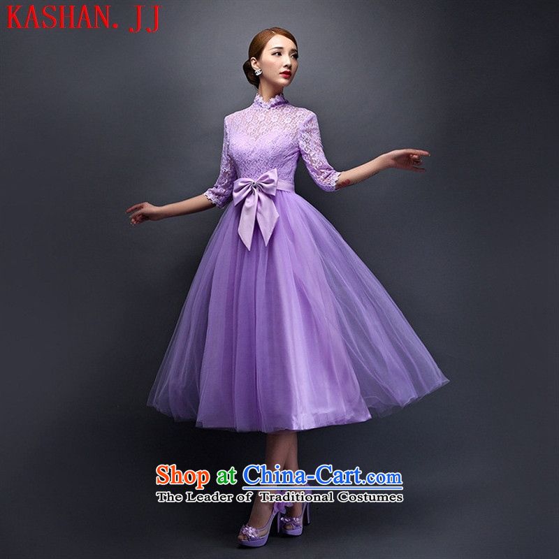 Mano-hwan's 2015 new bridesmaid dress spring and summer banquet chairman of evening dress wedding dresses in serving bridesmaid purple D are code