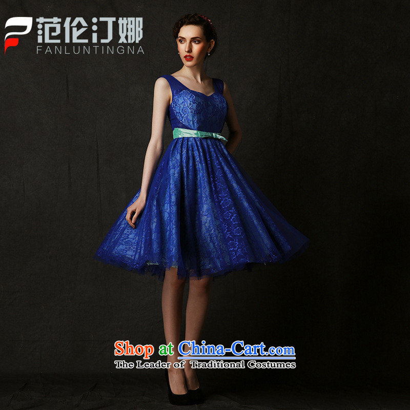 Mano-hwan's 2015 new graduate dress marriage shoulders bows services affect theme costumes banquet evening dresses summer dark blue?L
