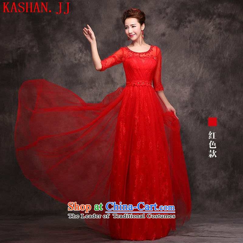 The non-marriage bows Services New 2015 Red Dress long banquet evening dresses long-sleeved bridal dresses wedding spring bare pink?S