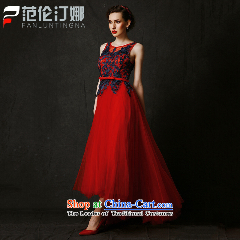 Mano-hwan's 2015 new marriage red bows long dresses services banquet evening dresses evening performances summer red?L