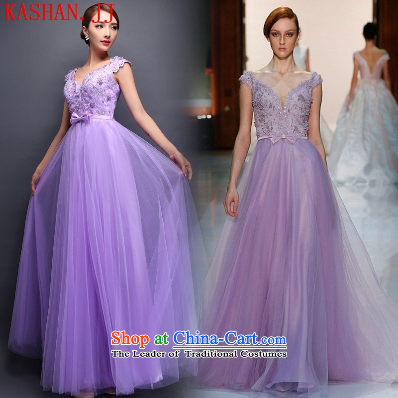 Mano-hwan, purple dress with long stars bride services marriage dress bows banquet service annual spring and summer Female dress red�L