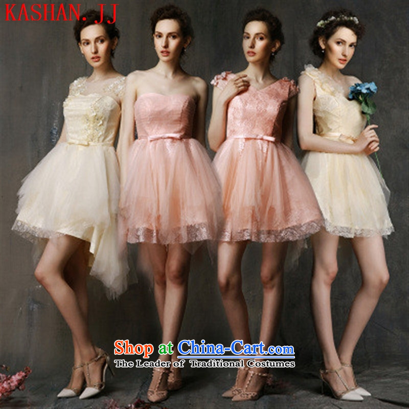 Mano-hwan's 2015 bridesmaid summer short of services and sisters skirt moderator dress bows services bride champagne color evening dresses video thin bare pink B both code