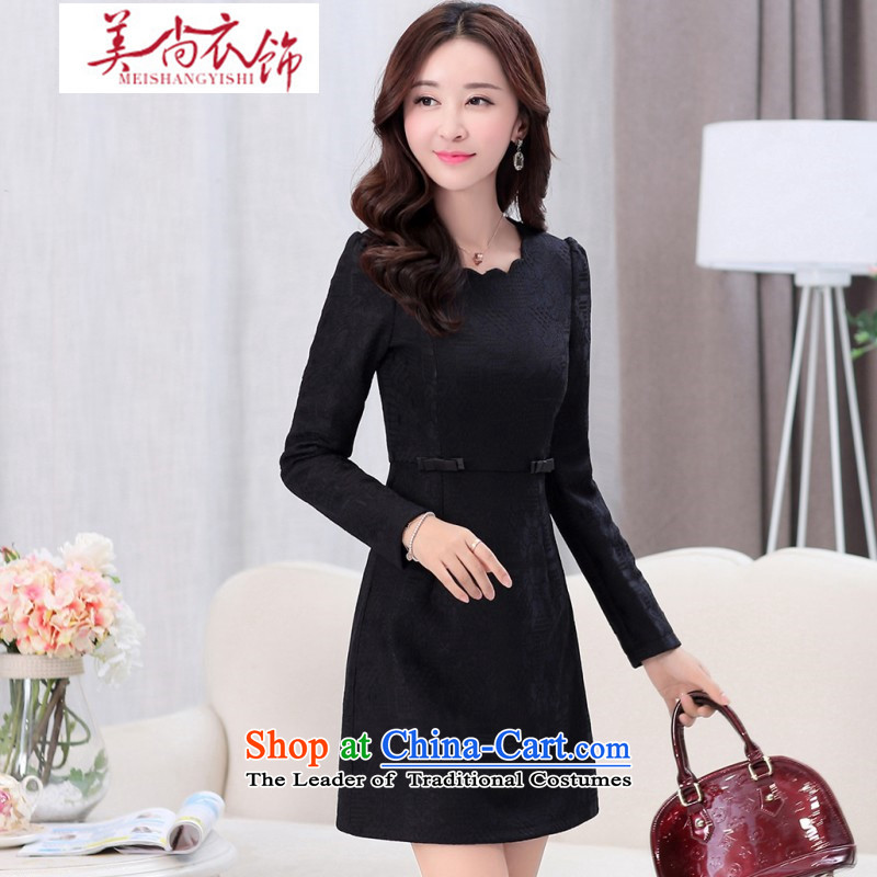 The United States is still fall/winter clothing new women's gross? dresses lace collar lace Foutune of Sau San inside the solid color black coated vocational�M