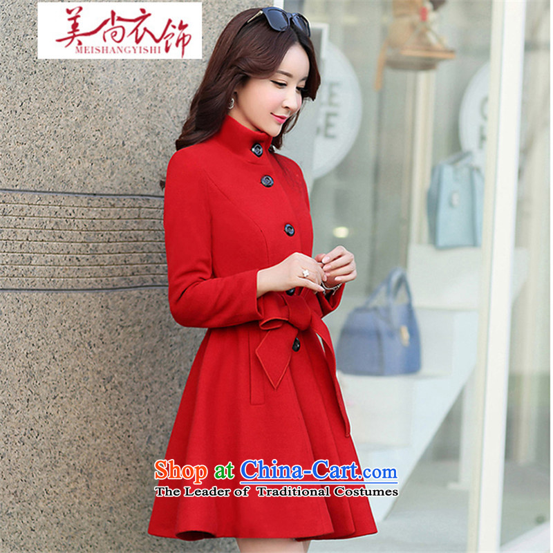 The United States is still fall/winter clothing new gross?   Graphics thin thickened jacket wool coat large red bride? Replacing the door bows services large red?XL