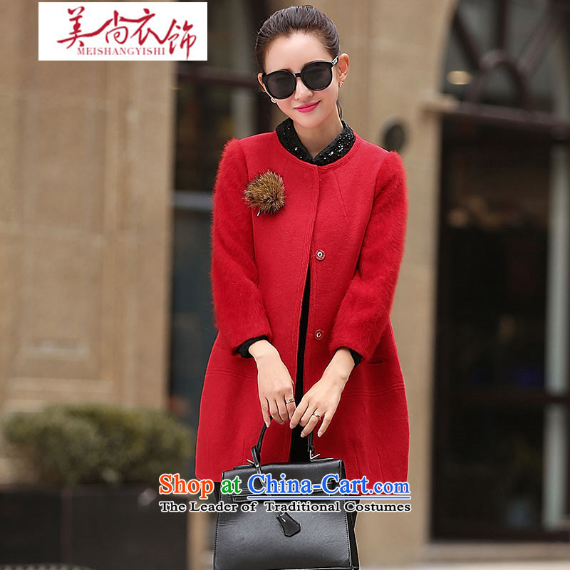 The United States is still clothing Neck Jacket in gross? Long Sau San Korean 2015 autumn and winter stitching rabbit hair cuff large a wool coat female red�L