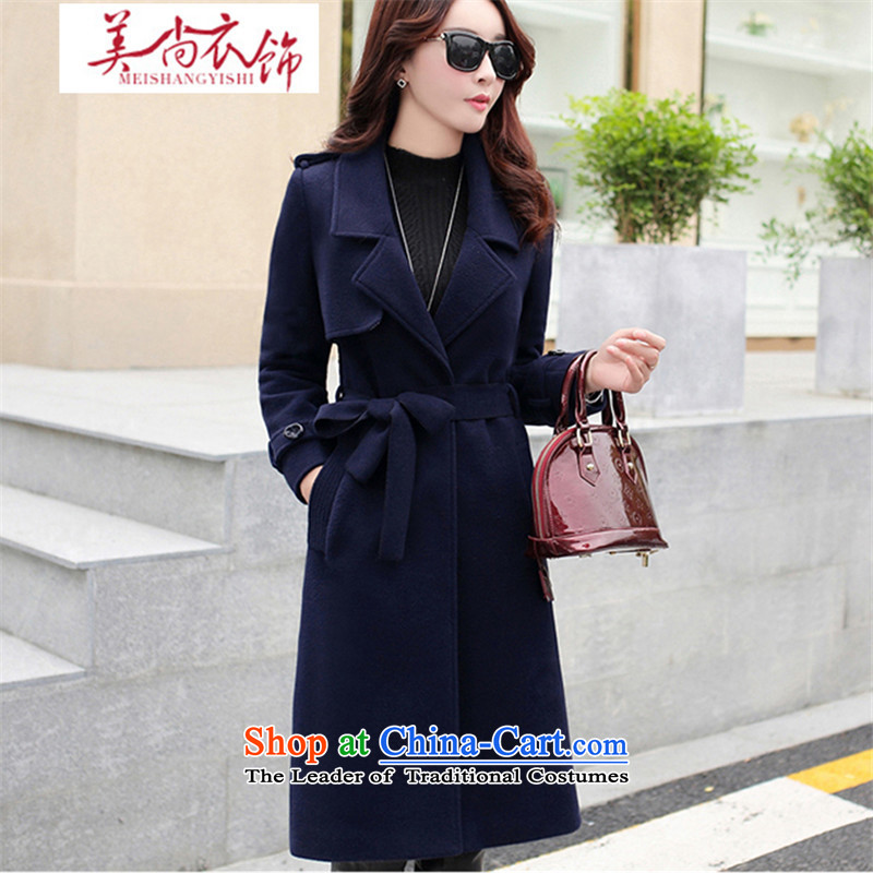 The United States is still?2015 autumn and winter clothing new products in gross? jacket long long-sleeved thin solid color graphics Sau San temperament Korean gross? coats navy?XL