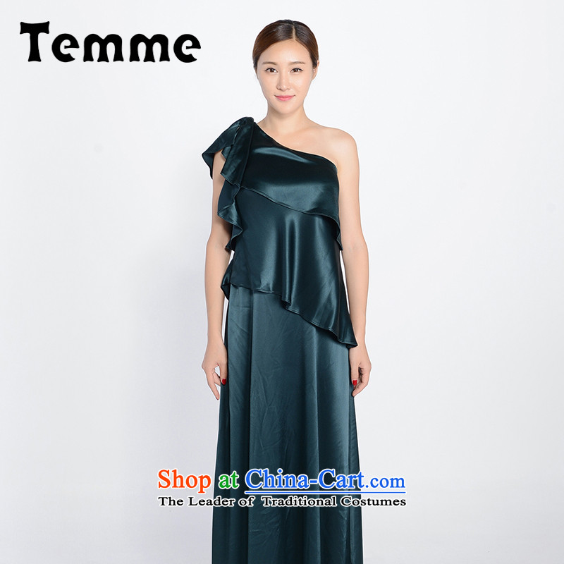 For the autumn 2015 Mok temme new green stylish long Beveled Shoulder bows service elegant dress female?T71AL01 M_160_88A_ Kingswood Ginza Phase 2