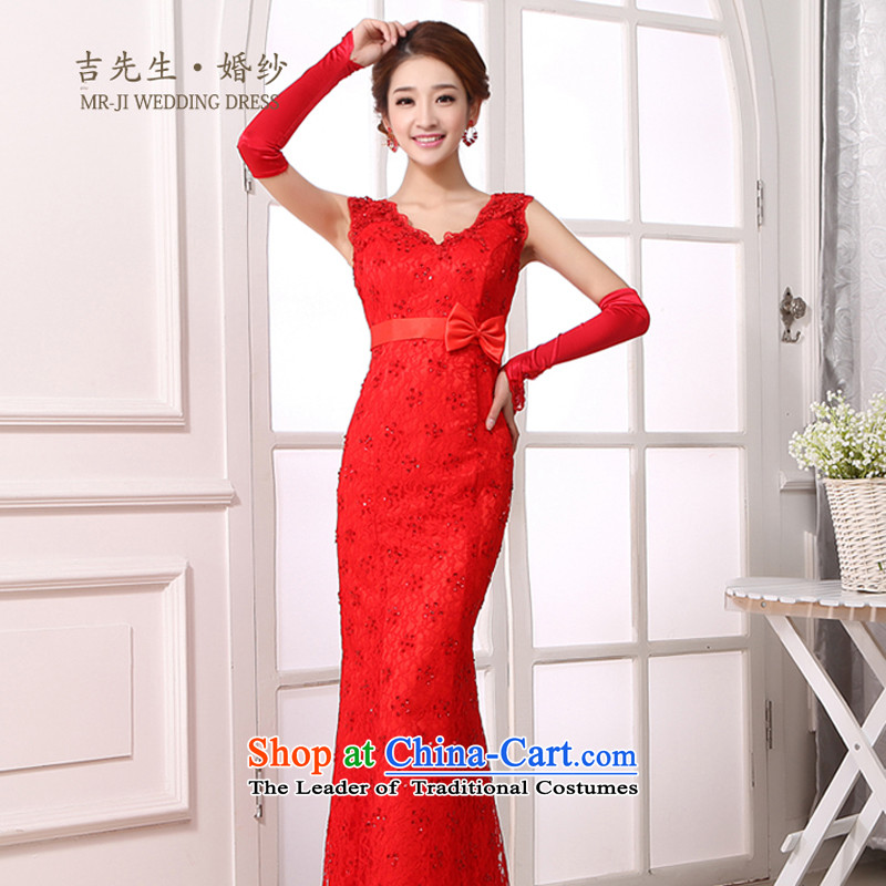 Mr. Guissé  2015 new traditional chinese red lace heart-shaped for a two-shoulder strap and crowsfoot long Sau San package) bows dress s