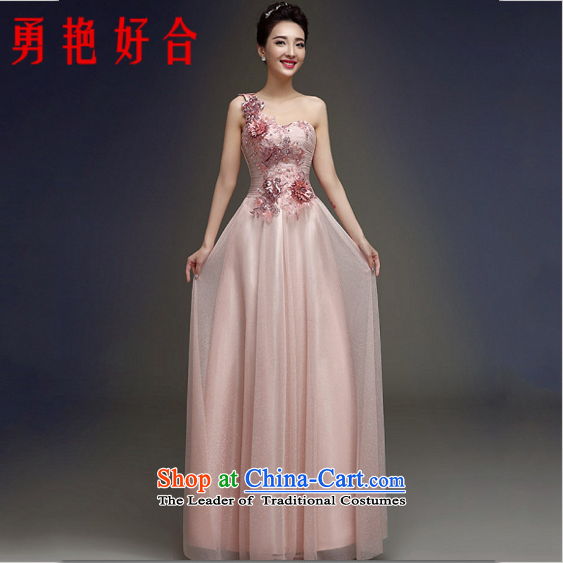 Yong-yeon and bows to dress long red bride shoulder banquet evening dresses 2015 new dresses meat as the size of the pink color is not a replacement for a