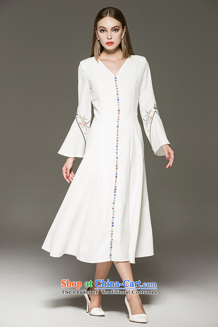 Card as the Caymanangelababy Yang Ying stars of the same embroidery horn Sleeve V-Neck dresses dress long skirt autumn 8FFMwhiteS picture, prices, brand platters! The elections are supplied in the national character of distribution, so action, buy now enjoy more preferential! As soon as possible.