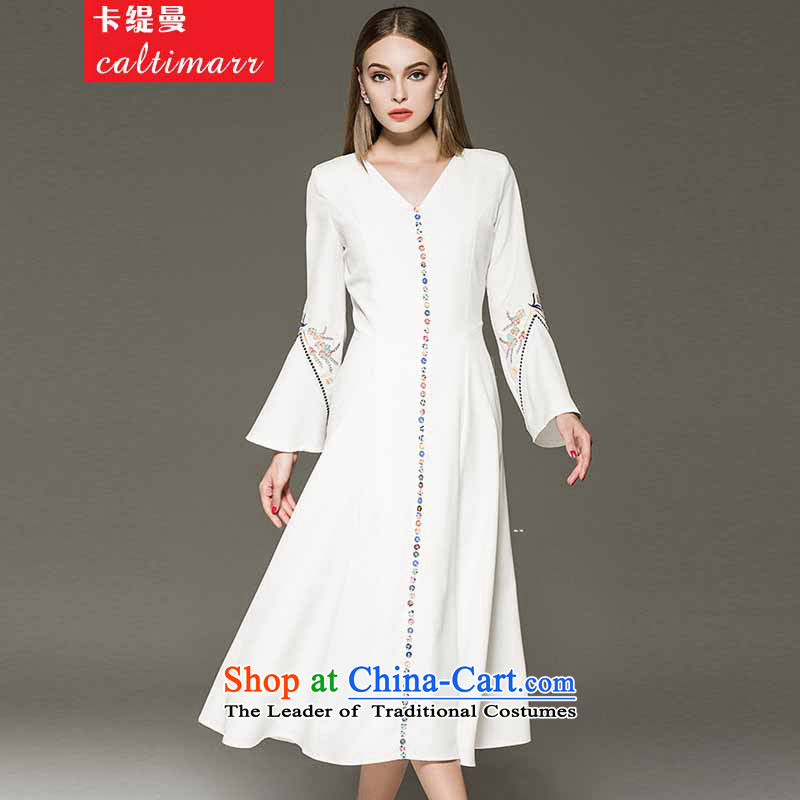 Card as the Cayman?angelababy Yang Ying stars of the same embroidery horn Sleeve V-Neck dresses dress long skirt autumn? 8FFM?white?S