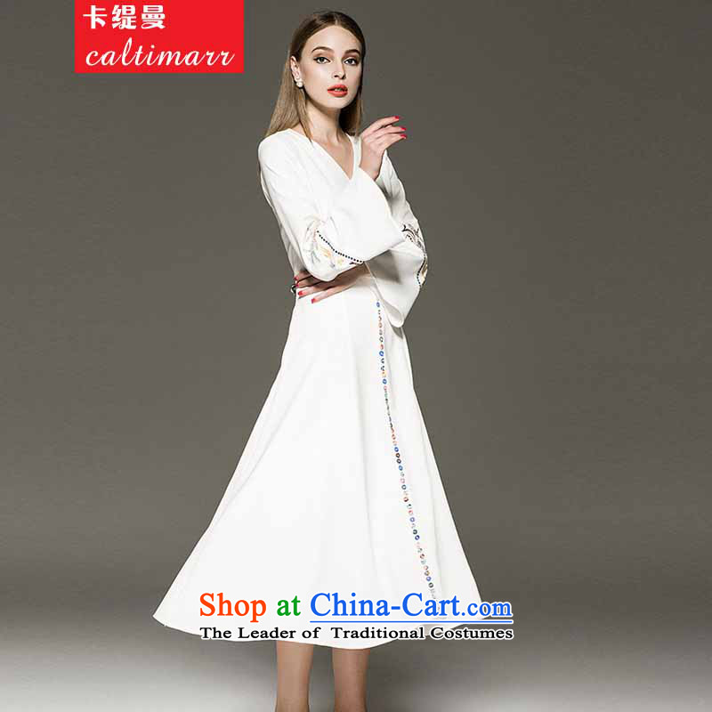 Card as the Caymanangelababy Yang Ying stars of the same embroidery horn Sleeve V-Neck dresses dress long skirt autumn 8FFMwhiteS Card (caltimarr economy) , , , shopping on the Internet