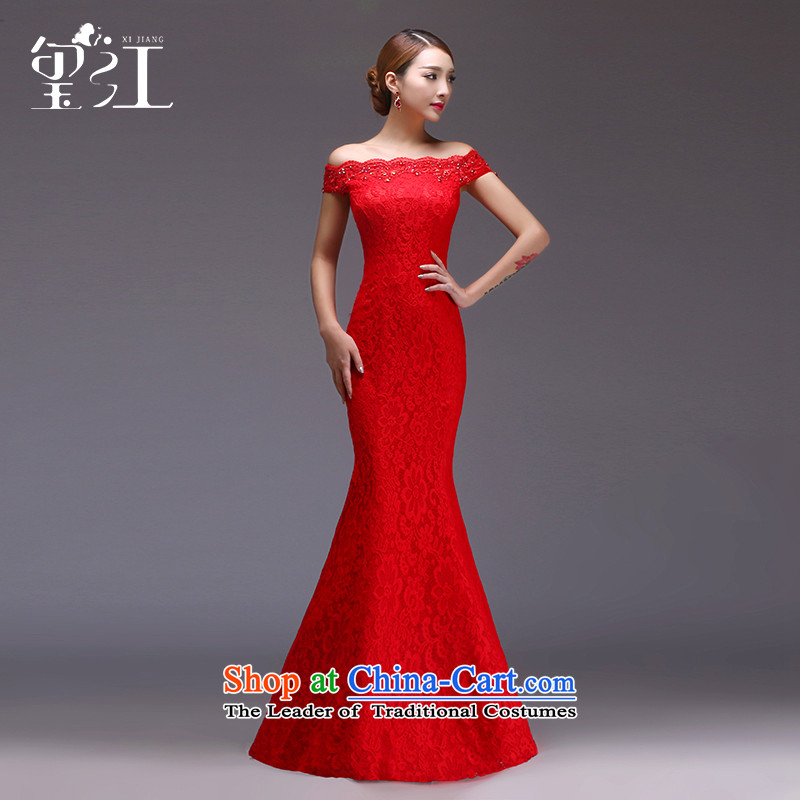 Jiang evening dresses brides seal wedding dress winter bows services red word   crowsfoot shoulder straps to align the long gown female banquet ex-gratia red�S