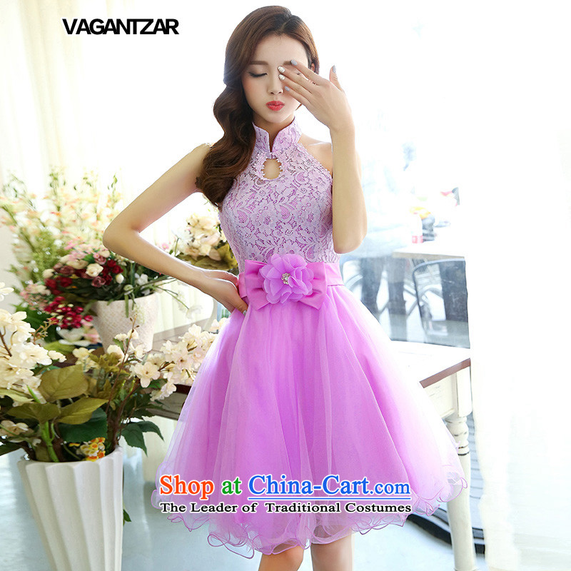 The new small red VAGANTZAR2015 dress hanging also serving short of the brides bows lace dress evening dress 1516 purple?M