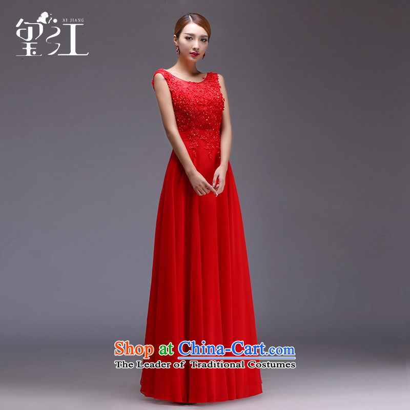Jiang bows to the bride seal 2015 autumn and winter wedding dress shoulders red long large tie banquet evening dresses female Sau San video thin red tie_?XL