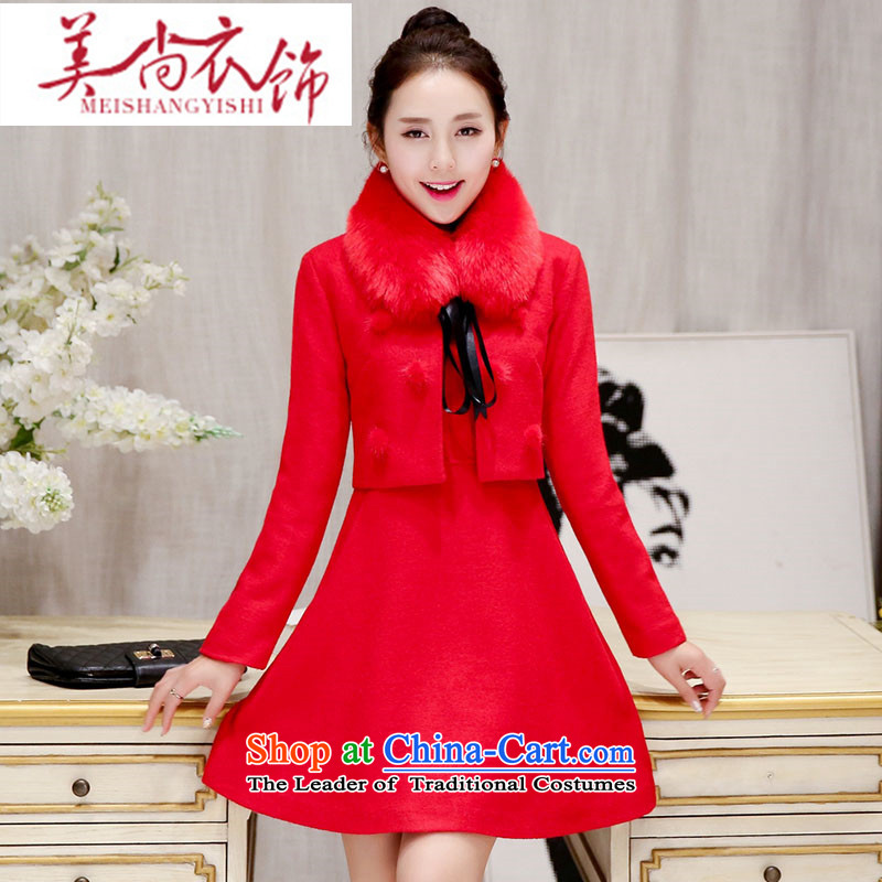 The United States is still?2015 autumn and winter clothing and accessories the lift mast bows dress marriages banquet a wool coat red Korean female red jacket? gross with red hair collar?XXL
