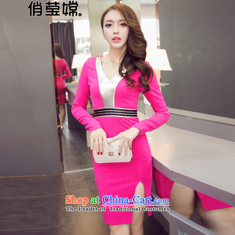 For 2015, the new Sheung Ying Korean aristocratic Sau San V-neck skin on the Spell Checker's package and dresses dress female nightclubs and sexy package and the Red?M