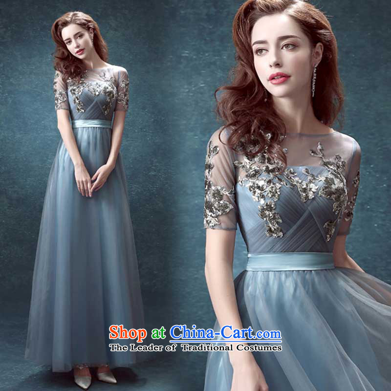 Pure Love bamboo yarn blue back long_ Marriages bows Annual Dinner service performance wedding dresses 2015 new gray blue-gray?M