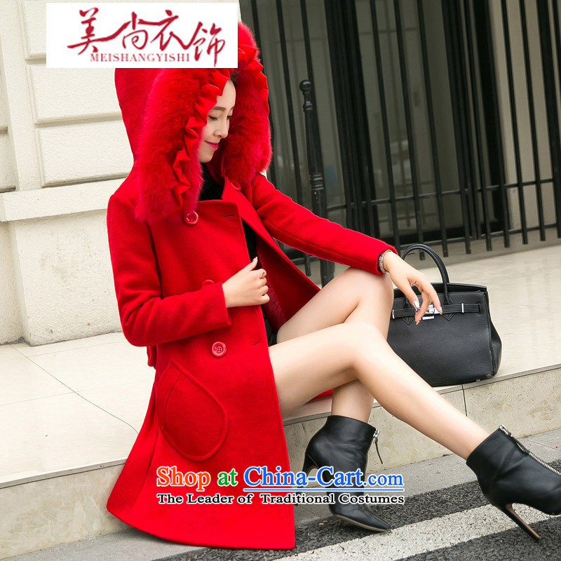 The United States is still large red winter clothing female staple marriage long-sleeved long gross a jacket back to the door bows bride evening dress with a really small gross for red�L