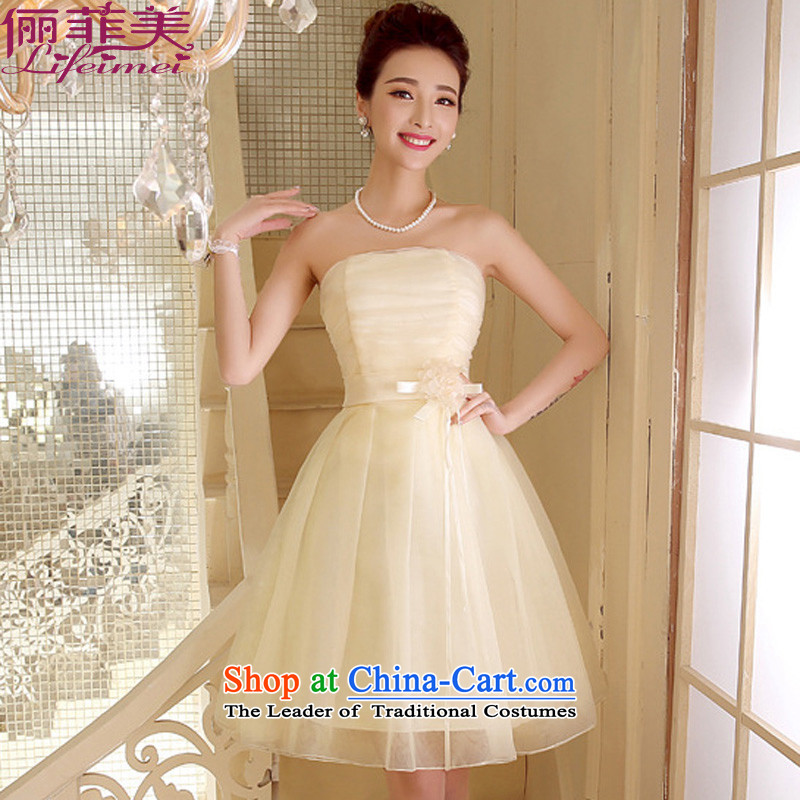 Payment on delivery to the Philippines, Japan, and the ROK and breast height waist princess dress celebration bridesmaid small dress dresses champagne color?M?for 78-110 catty