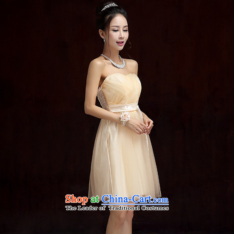 The new small dress wipe his chest long skirt thin large Internet video wedding dresses bride wedding bridesmaid sister skirt video thin evening annual large dress dresses champagne color short skirts are approximately 85-115 code catty