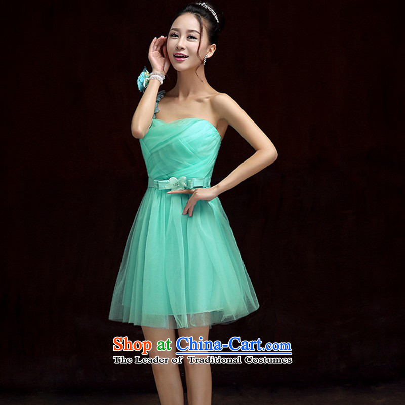 Sexy And chest large dress gauze shoulder dresses miss etiquette long skirt evening banquet bridesmaid sister wedding dresses skirt skirt short, under the auspices of the annual skirt short skirt?around 115-140 green XL catty