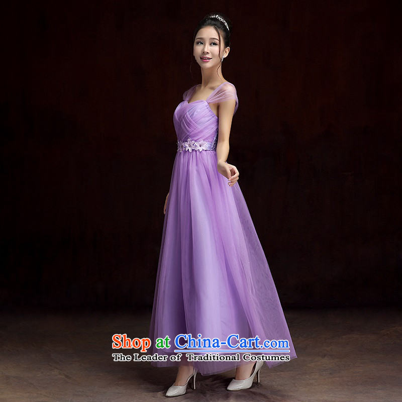 2015 new sweet temperament gauze short of small dress shoulders with bare shoulders breast Foutune of skirt long skirt annual meeting under the auspices of dress bridesmaid sister skirt skirts are approximately 85-115 code purple catty