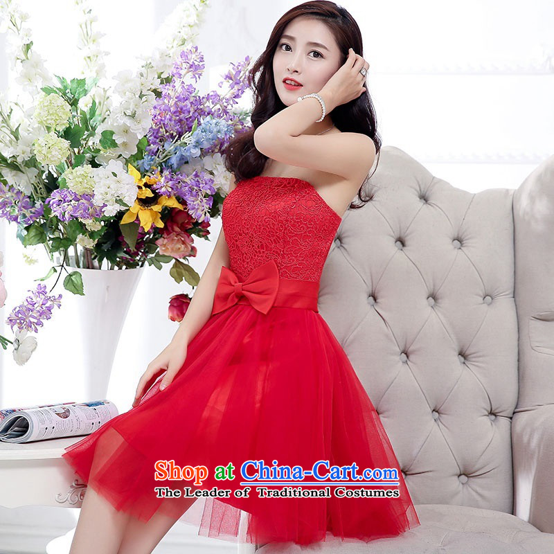 2015 Autumn and Winter, stylish and simple with chest lace dresses bridal services in the medium to long term, temperament Sau San bon bon skirt gauze princess skirt bow tie foutune bridesmaid to serve the large red�L
