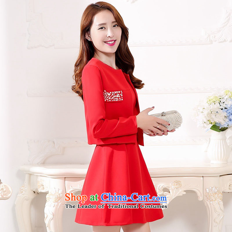 2015 Autumn and Winter Ms. new large red two kits bridal dresses Sau San video thin banquet dress jacket bride evening dresses skirts bride bows services 1 red聽XL