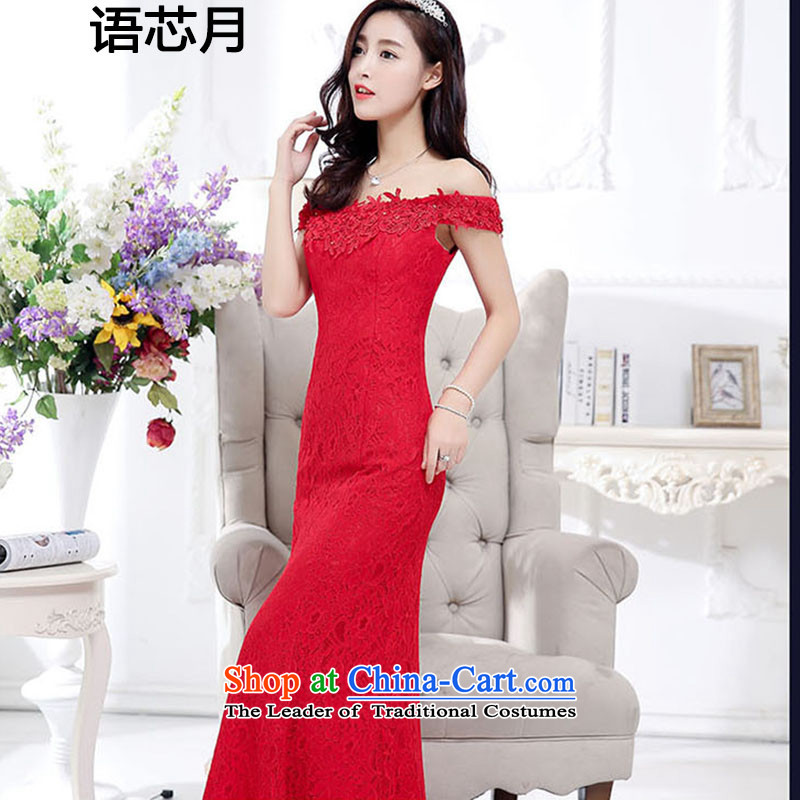 On Korean-language and sexy a field shoulder lace flowers crowsfoot skirt long wedding bride the lift mast bridesmaid dresses serving drink tail Red Dress Female Red?L