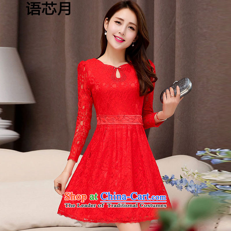 On Korean-language of autumn and winter new magenta engraving lace hook flower bride the lift mast bridesmaid dresses serving bows wedding short of marriage long-sleeved dresses female red 1526 M