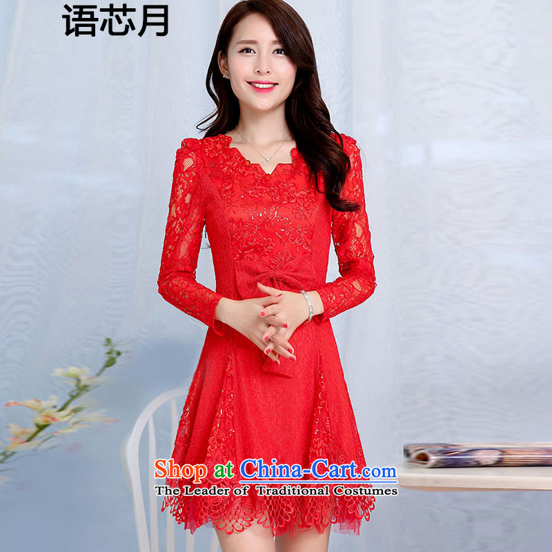 Language version of chipset 2015 new on-chip engraving lace bow tie back to the bows service door bride bridesmaid dress bridal dresses long marriage long-sleeved dresses female RED?M