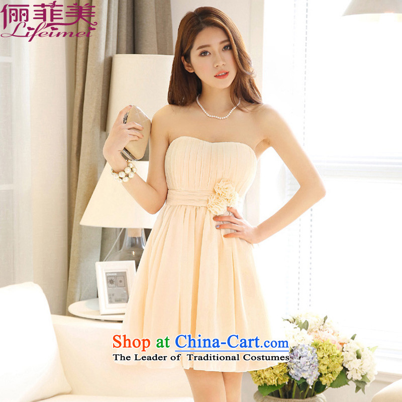 158 United States, Japan, and the ROK, and his chest shoulder gauze chiffon princess skirt high waist bridesmaid sister skirt show small dress�199 deep champagne color code� F�for 78-115 per capita burden