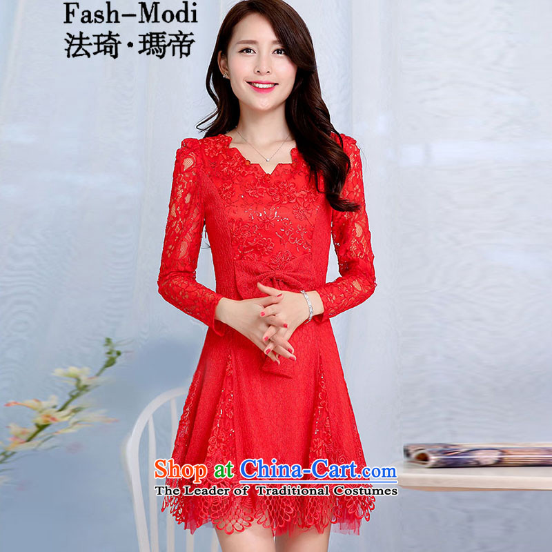 The law of the Korean version of Mary Kay autumn and winter new products red chip engraving lace hook flower bride the lift mast bridesmaid dresses serving bows wedding short of married women's dresses RED�M
