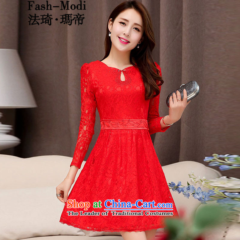 The law of the Korean version of Mary Kay autumn and winter new magenta Mock-neck sexy beauty bride the lift mast bows services bridesmaid Chinese Dress bridal dresses long long-sleeved lace dresses female RED?M